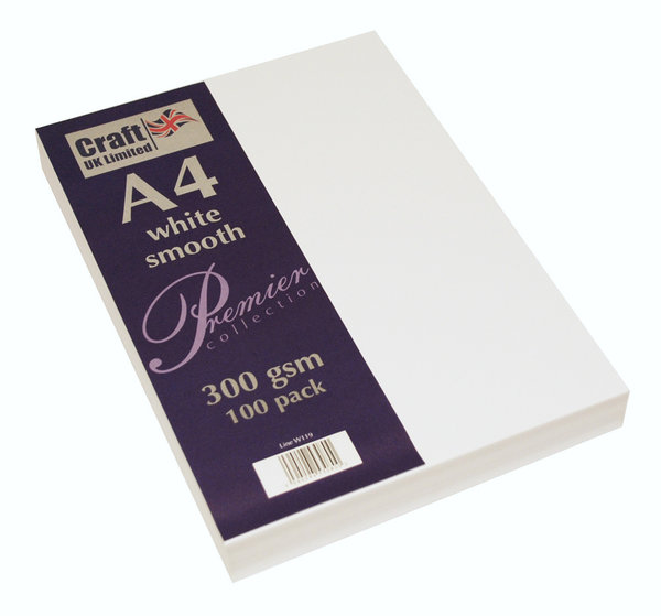 Craft UK - Premier Collection A4 White Smooth Cardstock, 300 g/qm